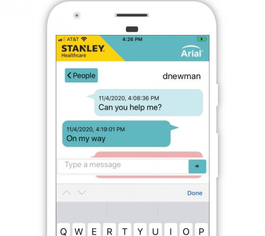 "Screenshot of chat message displayed in Arial app on mobile device. ""Can you help me?"" ""On my way"""
